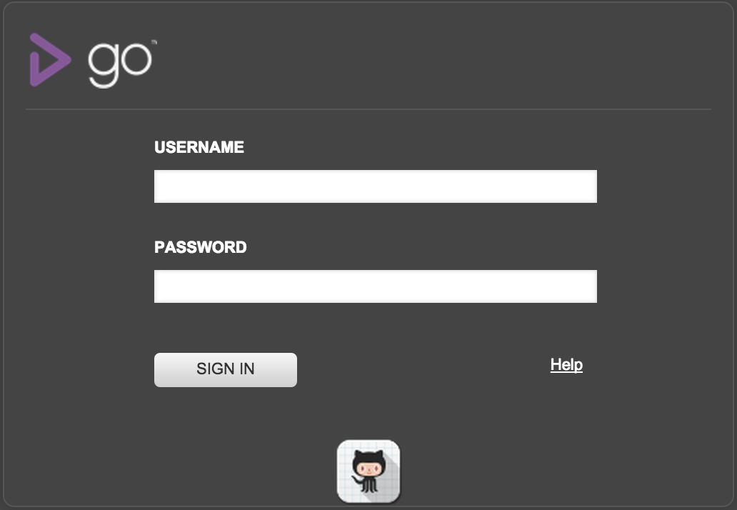 GoCD Login Page with Git Hub icon