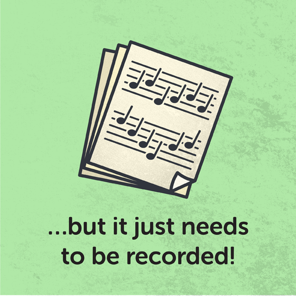 Continuous delivery, Sheet music that is not yet recorded