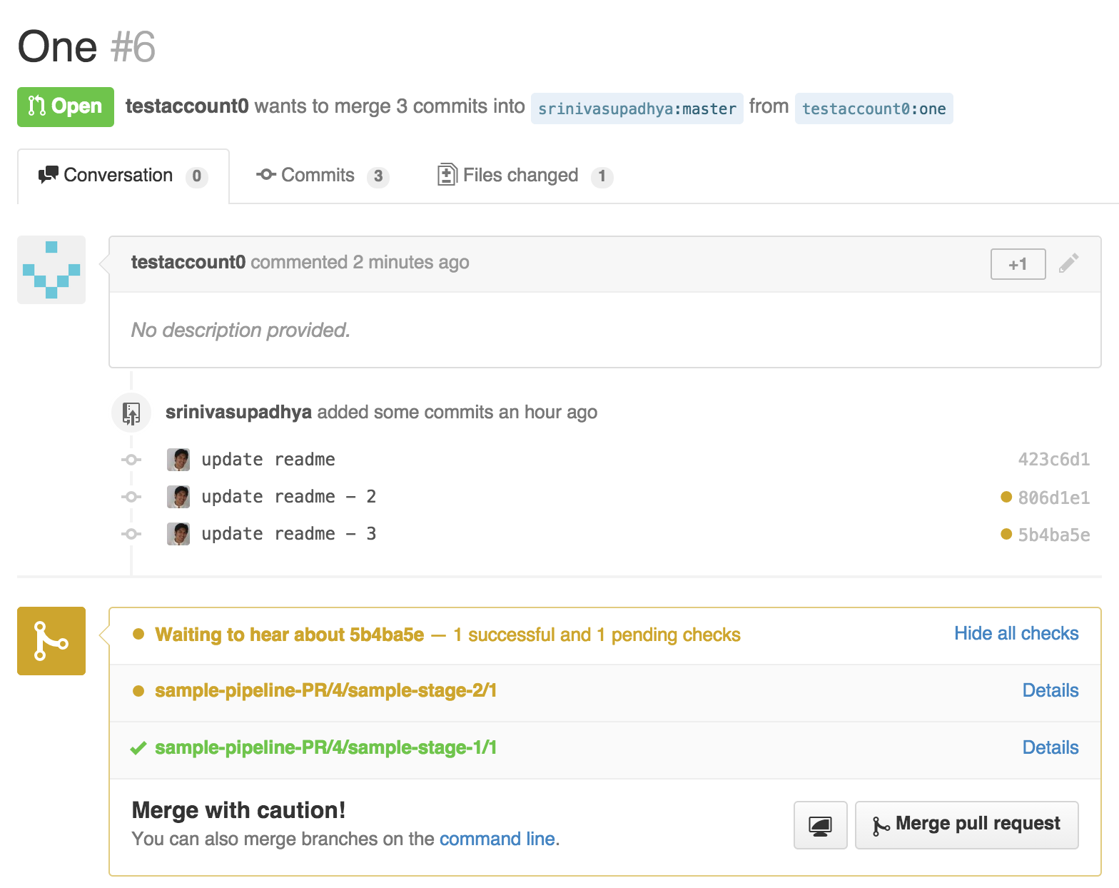 GitHub PR page gets updated