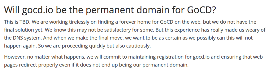 Will GoCD.io be permanent
