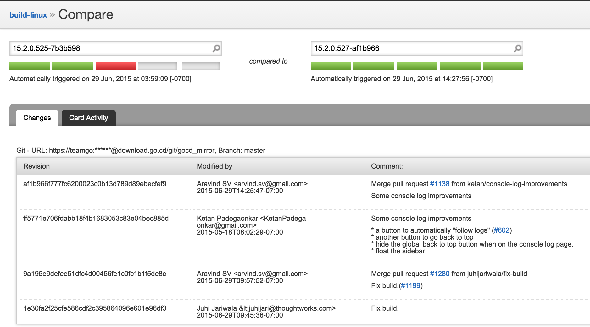 Compare pipeline page shows comment with GitHub issue link