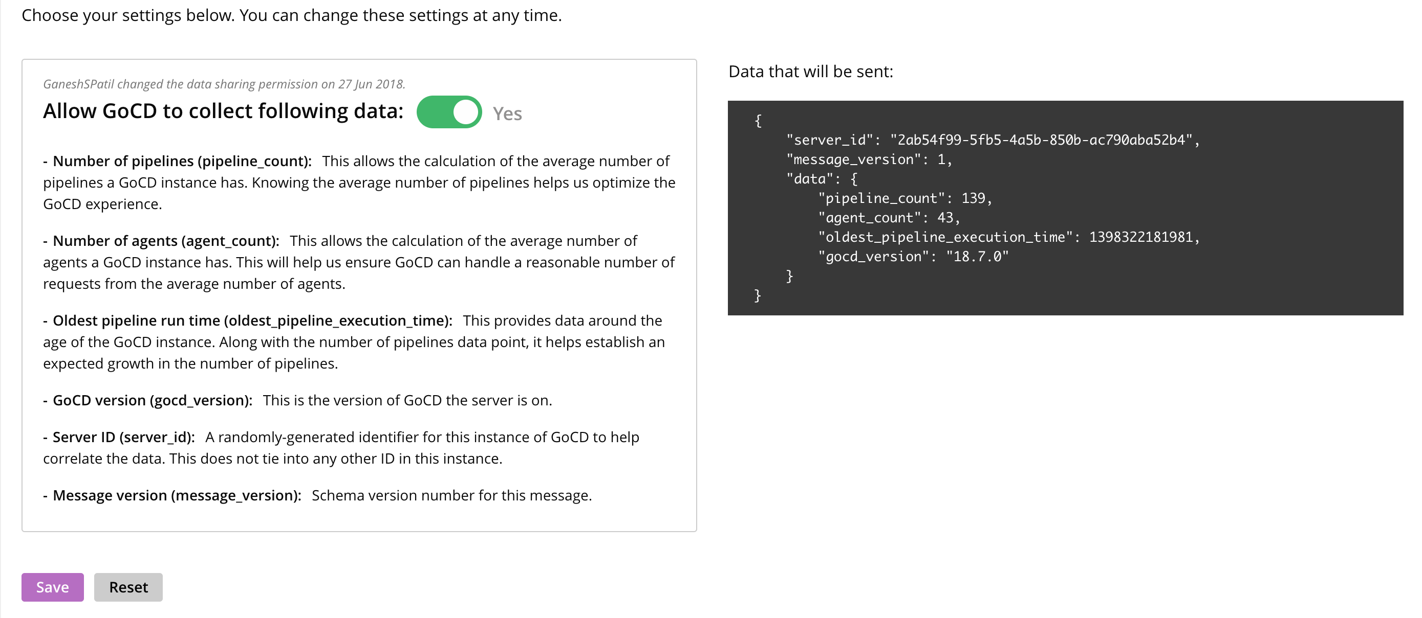 GoCD usage analytics